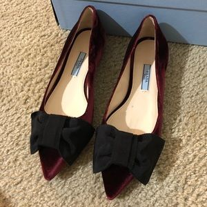 Prada red velvet and bow flats size 5.5